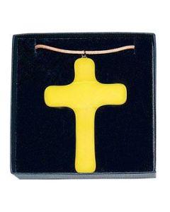 "Anhänger ""Glaskreuz"" - gelb, groß"