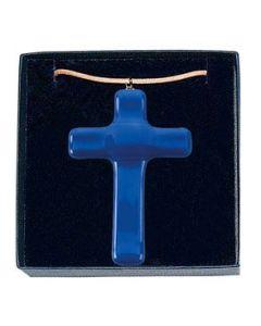 """Anhänger """"Glaskreuz"""" - blau, groß"""