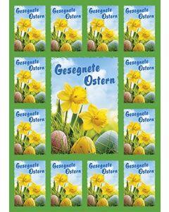 Aufkleber-Gruß-Karten: Gesegnete Ostern - 12 Stück