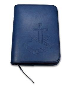 """Bibelhülle """"Bibel/Kreuz/Strahlen"""" Taschenbibel - dunkelblau"""