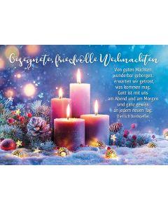 Postkarten: Gesegnete, friedvolle Weihnachten, 4 Stück