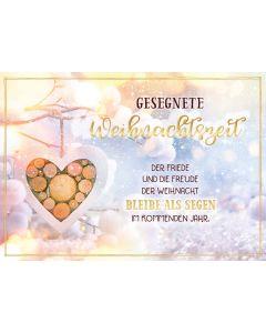 """Postkartenserie """"Gesegnete Weihnachtszeit - Holzherz"""" 10 Stk."""