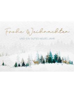 """Faltkarte """"Frohe Weihnachten - Hirsch im Wald"""""""
