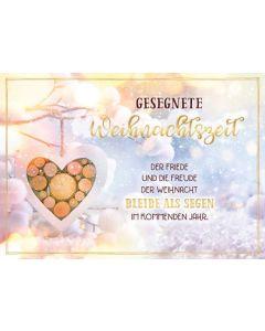 """Faltkarte """"Gesegnete Weihnachtszeit - Holzherz"""""""